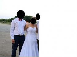 Suknia koronkowo - muślinowa