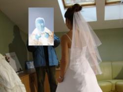 Suknia śluba z muślinu 38-40, 450 zł