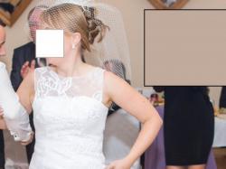 Suknia ślubna 2014-biała,lit.A, piekne zdobienia-stan idealny-komplet