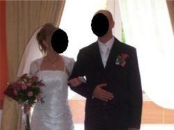 suknia ślubna 36/38 biała jednoczęściowa koronka bolerko