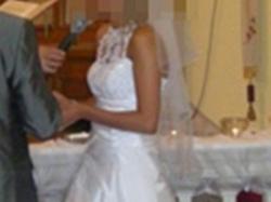 suknia ślubna 36, biała, z podpinanym trenem