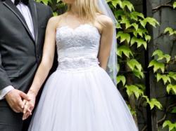 Suknia ślubna 3w1 biała z koronką