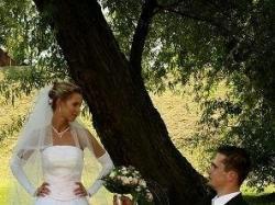 Suknia ślubna. 400-500zł. Zobacz. Na wysoką i szczupłą!