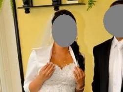Suknia ślubna Afrodyta tiul, z cyrkoniami +welon+bolerko+koło