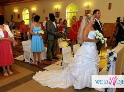 Suknia ślubna ALLURE BRIDAL 8407 z trenem i SURDUT ANGIELSKI