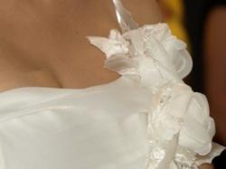Suknia slubna 'asymetria' ecru rozmiar ok. 40