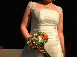 suknia ślubna Baron śliczna koronkowa kolor:ecru, wiązana regulacja rozm:40-46