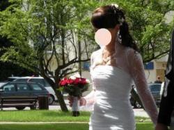 suknia ślubna biała 38 z trenem
