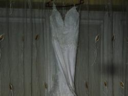 Suknia Ślubna Biała Agora Rybka, Welon, Diadem, Rękawiczki+Gratis