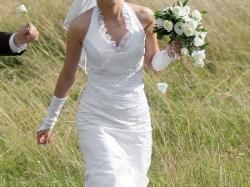 Suknia ślubna, biała, tren, fason-rybka+welon i rękawiczki