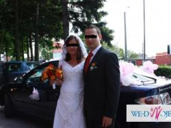 Suknia ślubna biała welon koronka