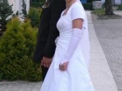 Suknia Ślubna, bolerko, rękawiczki