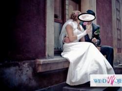 Suknia ślubna + bolerko sprzedam r.38 regulacja wiązaniem