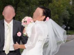 Suknia ślubna, bolerko, welon ecru 40