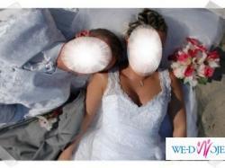 Suknia ślubna CLASSA C418, piękna -biel 38/40 BĘDZIN