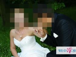 Suknia ślubna ecru+bolerko+bizuteria