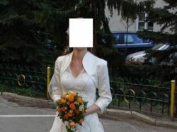 suknia ślubna ecru, delikatna, romantyczna