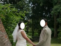 Suknia ślubna ecru roz.48/50 + dodatki