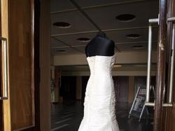 Suknia ślubna, ecru, rybka, Swarovski