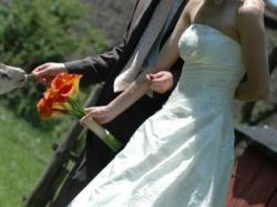 Suknia ślubna, ecru, tafta!