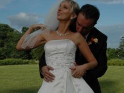 Suknia ślubna ecru+welon gratis- tanio