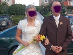 suknia ślubna ecru ze złotą koronką