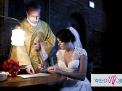 suknia ślubna ellis bridals 38 / 40 ecru, kość słoniowa koronka dekolt