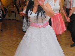 suknia ślubna farima PLUS FANTAZJA różowe dodatki