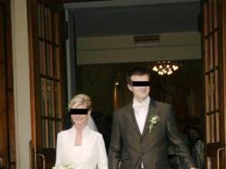 Suknia ślubna francuskiej firmy CYMBELINE rozmiar 34 – perłowa