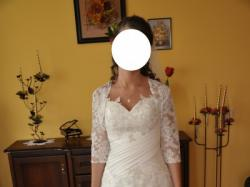 Suknia ślubna gratis piękne zdobione bolerko, welon oraz halka na kole