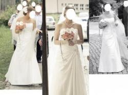 suknia ślubna  Herms 36/38 z KRYSZTAŁKAMI  i TRENem + długi WELON