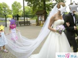 Suknia ślubna Herms r. 38 z trenem, 2 welony gratis