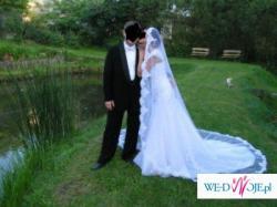Suknia ślubna hiszpańskiej firmy La Sposa model Martina+ welon w stylu hiszpańs.