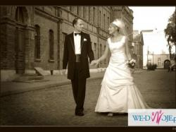 suknia ślubna i garnitur