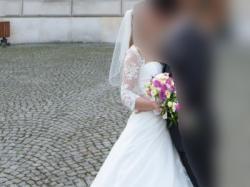 Suknia ślubna Jasmine Bridal wraz z welonem i bolerkiem