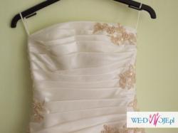 Suknia ślubna jednoczęściowa koronkowa ecru ( r. 36 )