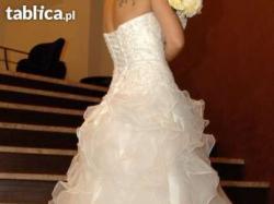 Suknia ślubna Kambelina ręcznie zdobiona falbanki ślub wesele