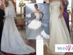 Suknia Ślubna, kolor ecru, rozm 38, gorset, tren, cosmobella