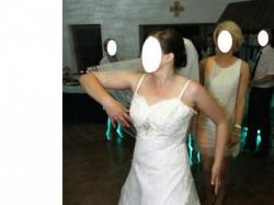 Suknia ślubna koronka, r. 38 40, welon, bolerko