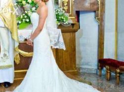 Suknia ślubna koronkowa śmietankowa rybka syrena AMY LOVE ALYSHIA + welon i halka IDEALNIE PODKREŚLA FIGURĘ