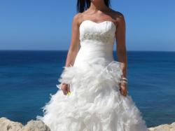 Suknia ślubna MADONNA Famosa 36/S strzępiona pióra welon koło IVORY princess