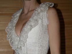 suknia ślubna MADONNA rozm XS 34 Ecru koronki krótka