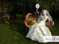 Suknia ślubna NABLA+bolerko,36-38 satyna ecru