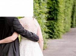 Suknia ślubna NABLA LUISE ecru, piękna koronka, tren, rozmiar:38