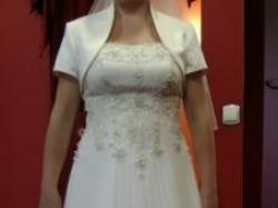 Suknia Ślubna ORYGINALNA PLISOWANA kolor śmietankowy 40-42