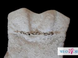 Suknia Ślubna - piękna, wysokiej jakości koronka, projekt:Manuel Mota