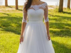 Suknia ślubna princessa 36/38 zdobiona kryształki