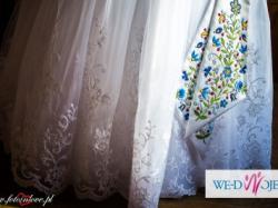 Suknia ślubna princessa biała r.38 koronka ze zdejmowanym trenem