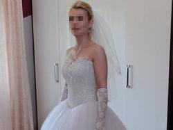 Suknia ślubna Princessa z brokatowym tiulem, kryształkami Swarovskiego