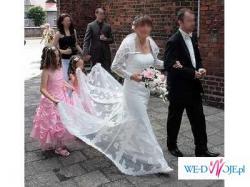 Suknia ślubna Pronovias,Lorna, bolerko,welon,buty